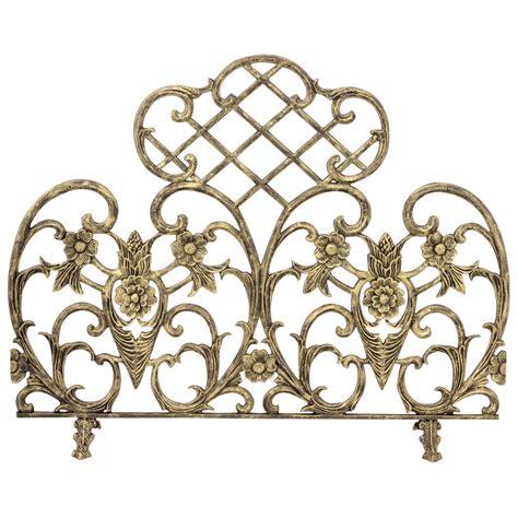 Antique Gold Fireplace Screen uniflame single panel antique gold cast aluminum fireplace