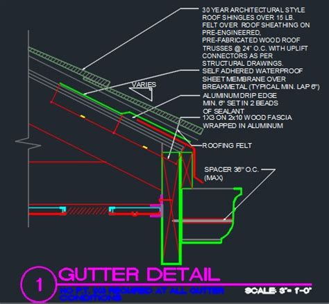 gutter section detail roof gutter detail cad files dwg files plans and details
