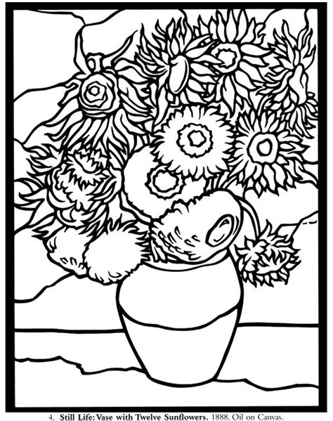 Vase With Twelve Sunflowers Van Gogh Coloring Pinterest Gogh Coloring Page