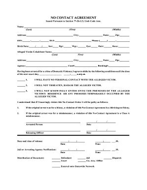 The No Contact Contract by Contact Agreement Fill Printable Fillable