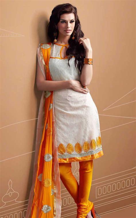 white orange chanderi cotton salwar kameez rud
