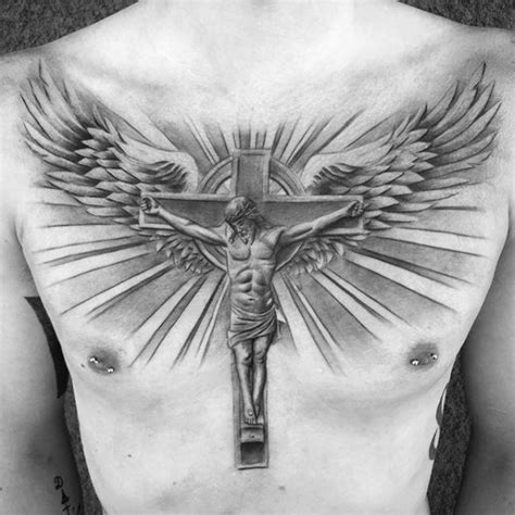 cross with wings tattoo on chest 40 jesus chest designs for chris ink ideas