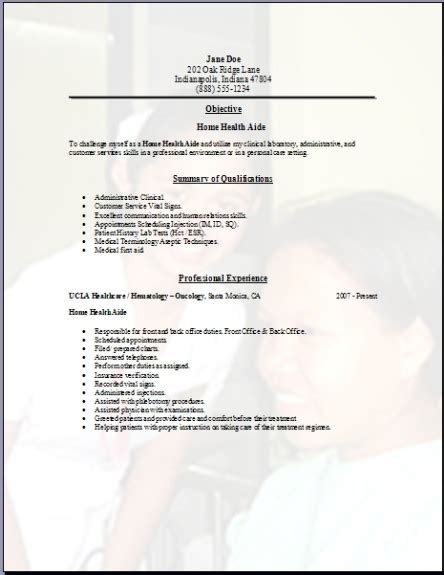 Home Health Aide Cover Letter by Home Health Aide Resume Occupational Exles Sles Free Edit With Word