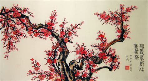 Paint By Number Wall Murals plum blossom in full bloom chinese flower painting