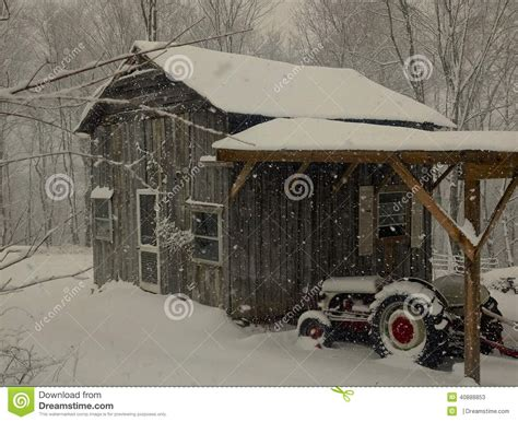 friends barn  tractor  snow stock image image