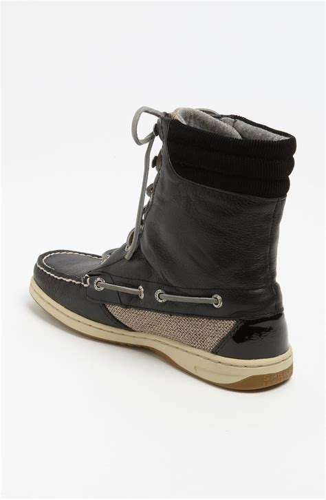 sperry top sider boots sperry top sider hikerfish boot in black black leather