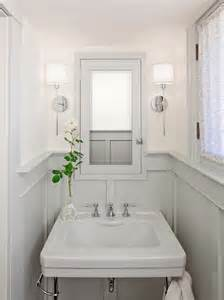 Wainscoting In Small Bathroom gray wainscoting cottage bathroom helgerson