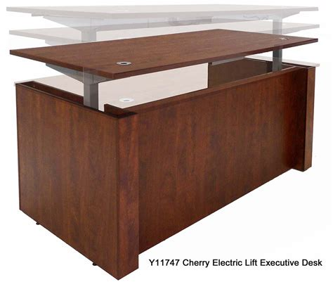 adjustable height executive office desk in cherry