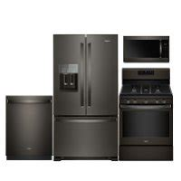 whirlpool wh4pcfssbs30efisskit3 kitchen appliance packages whirlpool black stainless steel 4 piece kitchen appliance