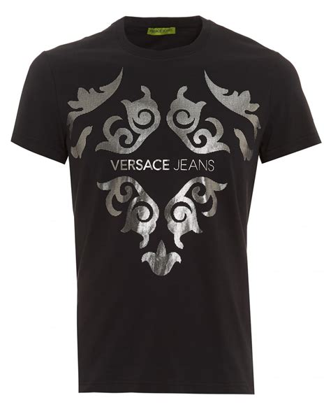 versace mens black t shirt slim fit silver baroque