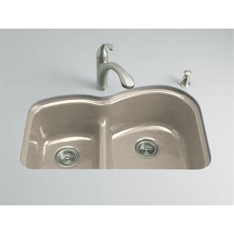 Shop Kohler Woodfield Double Basin Undermount Enameled Cast Iron Kitchen Sinks