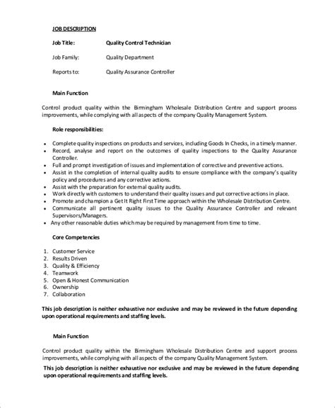 Quality Technician Description by Controls Technician Description Avionics Technician Description 9 Resume Templates