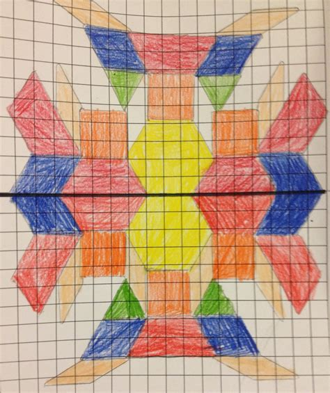 drawing with pattern blocks the 4th grade may niacs symmetrical creations