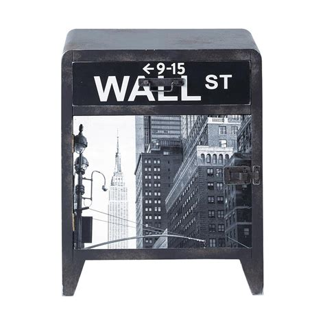 nachttisch new york table de chevet indus avec tiroir en bois grise l 42 cm