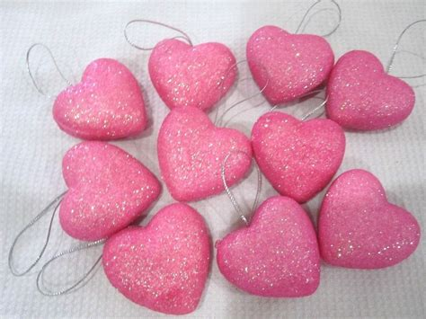 valentines day ornaments valentines day pink glitter hearts 1 5 quot ornaments
