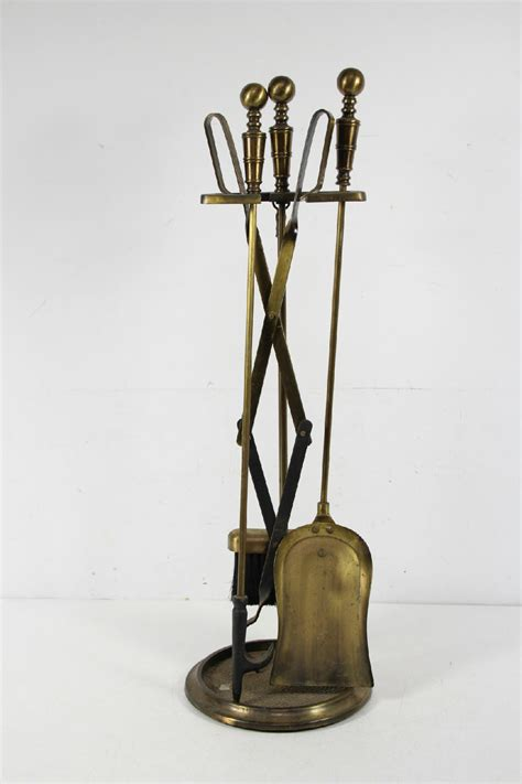 vintage brass 4 piece fireplace tool set and stand ebay