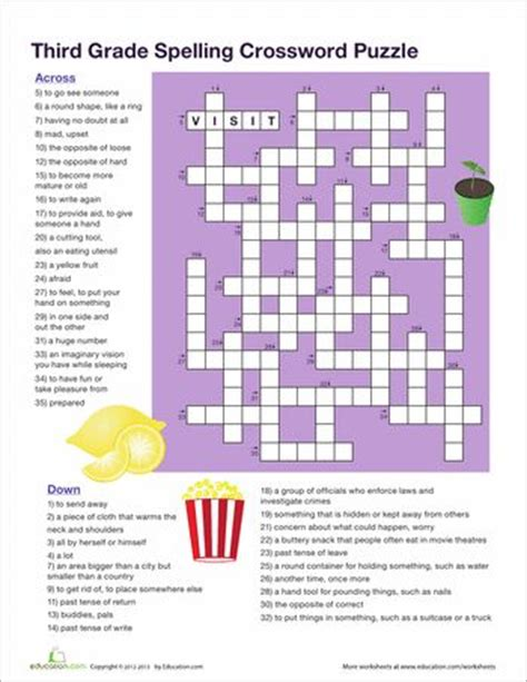 printable crossword puzzle for 3rd graders 3rd grade vocabulary crossword crossword crossword