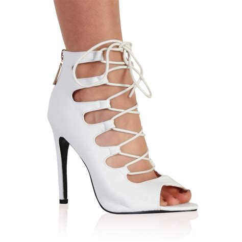 white lace up high heel boots new womens white lace up peep toe boots high heel