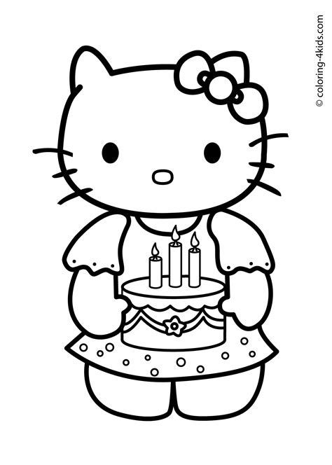 hello kitty happy birthday coloring pages pinterest