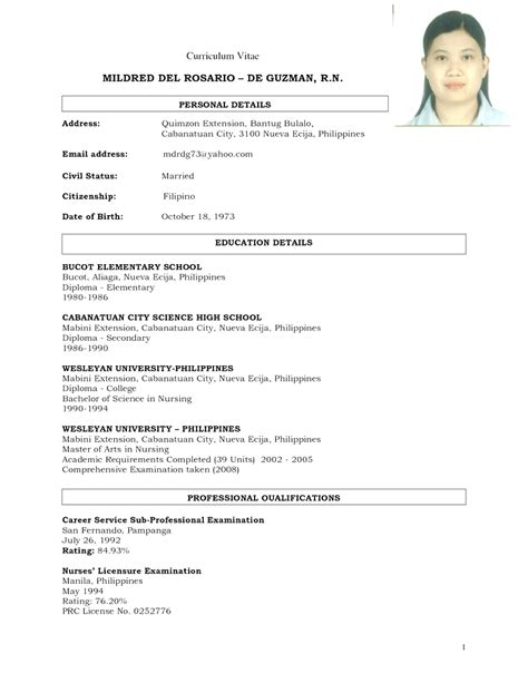 resume sle in the philippines free chronological resume sle philippines standard