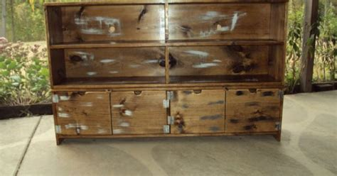 reclaimed bookcase primitive storage bench tv stand 58