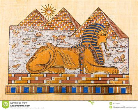 imagenes de esfinges egipcias para dibujar piramidi e sfinge egiziane della mano sul papiro immagine