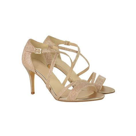 gold strappy mid heel sandals gold metallic mid high heel stilettos shimmer ankle
