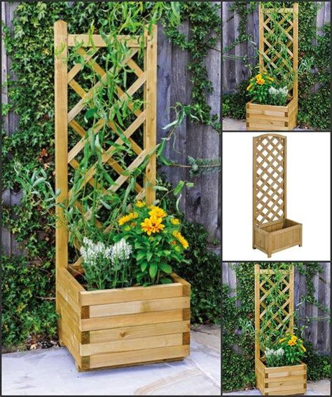 Wooden Planters With Trellis by Fencing Planters Climbing Plants Balcony Decking Patio