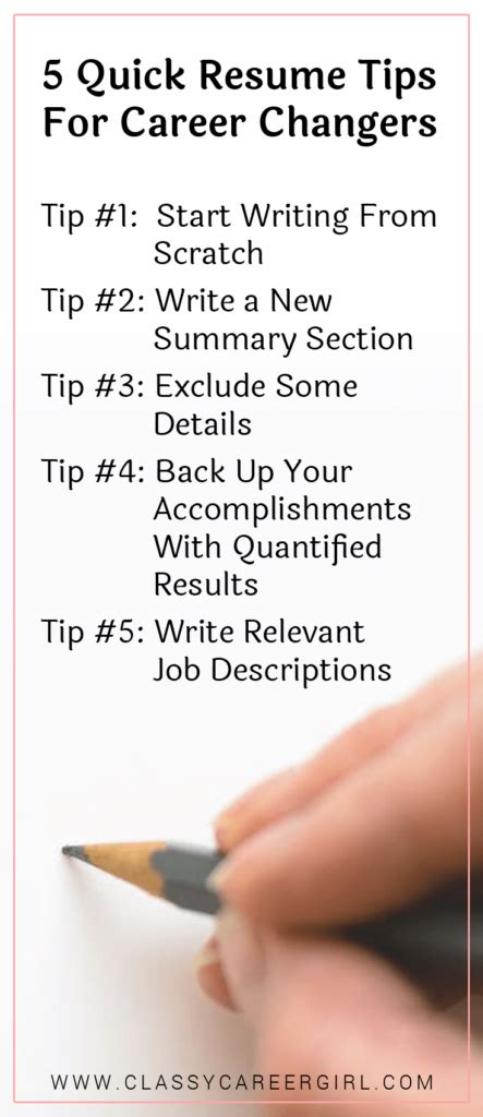 5 Resume Tips by 5 Resume Tips For Career Changers Career