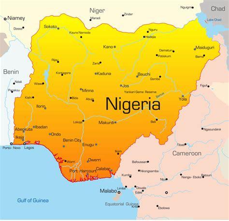 nigérie nigeria map with cities blank outline map of nigeria