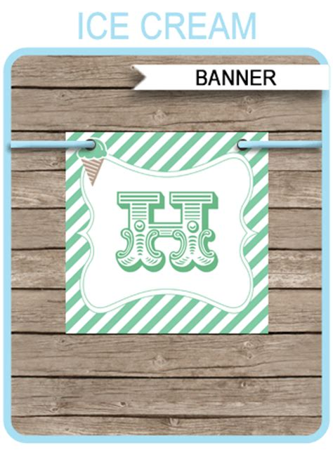 ice cream party banner template birthday banner