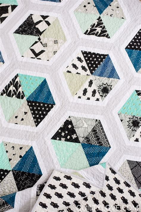 Triangle Hexies Pdf Quilt Pattern Quilty Love Triangulations Template Quilt Pattern