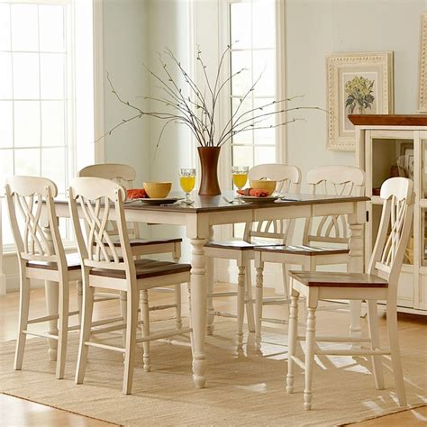 overstock kitchen table sets tribecca home mackenzie 7 country white dining set