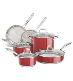 new kitchenaid stainless steel 10 cookware pots and pans set kcss10er ebay