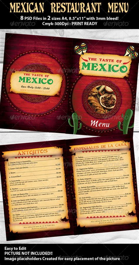mexican food menu template mexican restaurant menu psd template by hotpin graphicriver