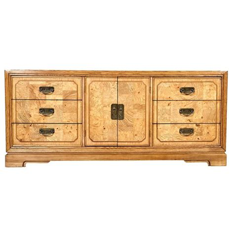 century furniture asian style burl mid century asian style burl wood accented dresser at 1stdibs