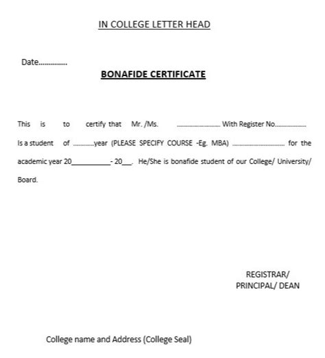 College Bonafide Letter Application Letter For Bonafide Certificate From College Passport Best Free Home Design
