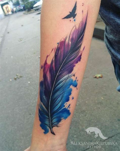 tattoo pen watercolor 30 fabulous feather tattoos for only the most discerning