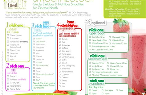 printable recipes for smoothies smoothieology a simple formula for delicious superfood