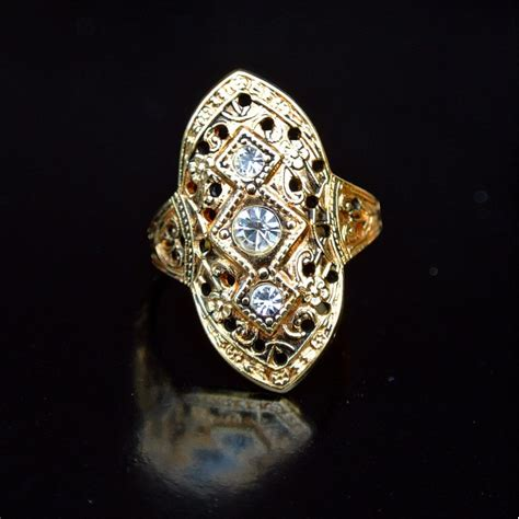 vintage gold tone filigree ring sold antique goodies