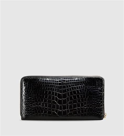 Tassel Zip Wallet lyst gucci bamboo tassel crocodile zip around wallet in