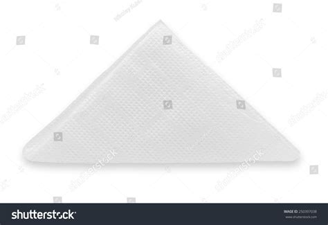 Fold Paper Into Triangle - white paper napkin folded into a triangle shape isolated