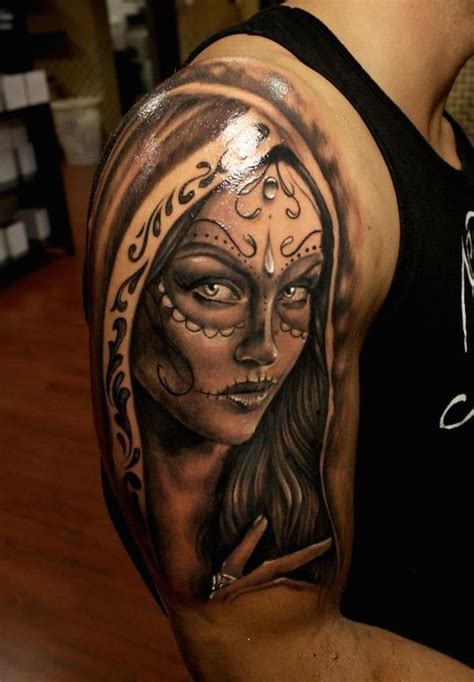 10 black and grey dia de los muertos tattoos on half sleeve