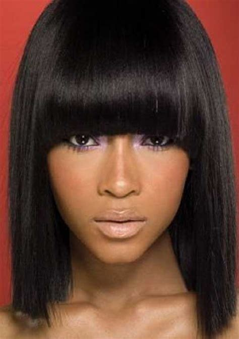 hair styles with swoop bangs black hair short hairstyles with bangs for black women short