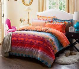 Pattern Bedding Sets Free Shipping Cotton Bed Linens Sanding 4pcs Orange Blue Geometric Pattern King Comforter
