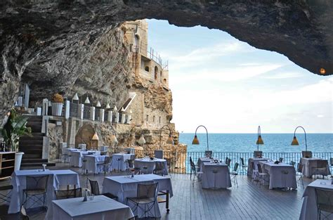 cave restaurant side of a cliff italy dining on the edge of a cliff at the grotta palazzese