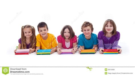Royalty Free School Children Stock by School With Colorful Books Royalty Free Stock Images