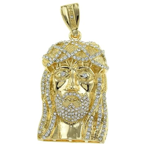 gold plated jesus pendant iced out pendants