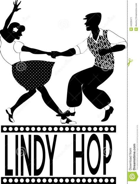 swing lindy hop lindy hop silhouette stock vector image 44228471