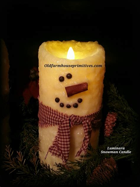 luminara candele luminara snowman flameless candle primitives